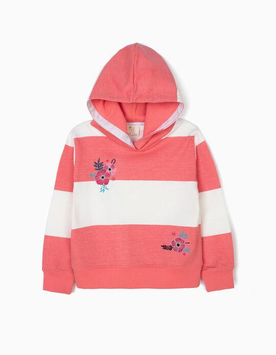 Sweatshirt com Capuz para Menina 'Flores e Riscas', Rosa e Branco