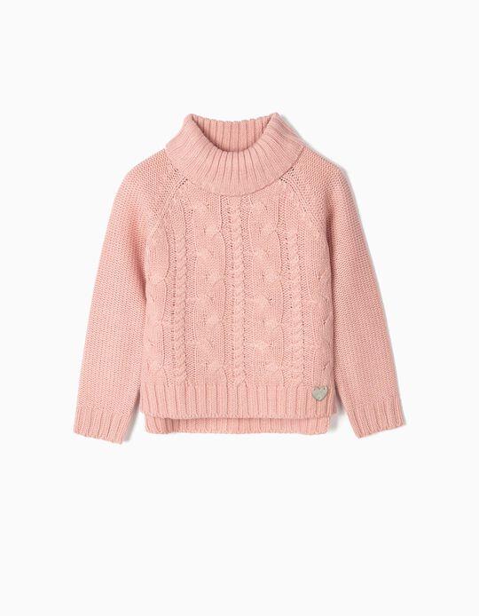 Turtleneck Knit Jumper for Girls, Pink