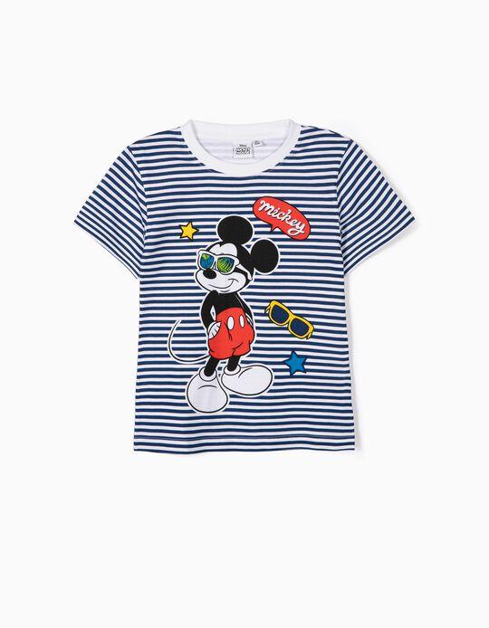 T-shirt ás Riscas Mickey Mouse