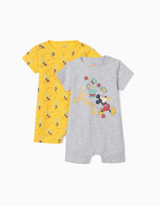 2 Sleepsuits for Baby Boys, 'Mickey Mouse', Grey/Yellow