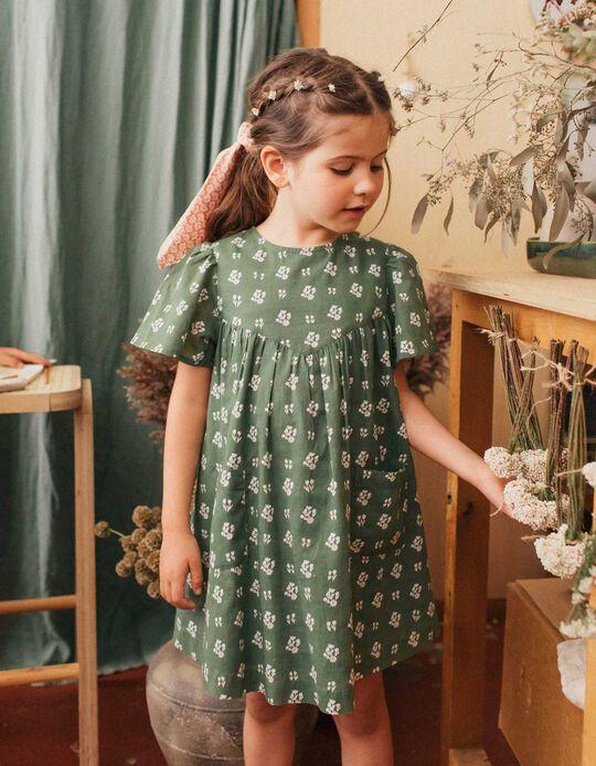 Dress for Girls, 'Flowers', Green