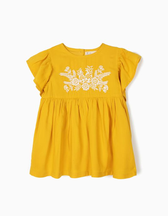 Blusa para Menina com Bordados, Amarelo
