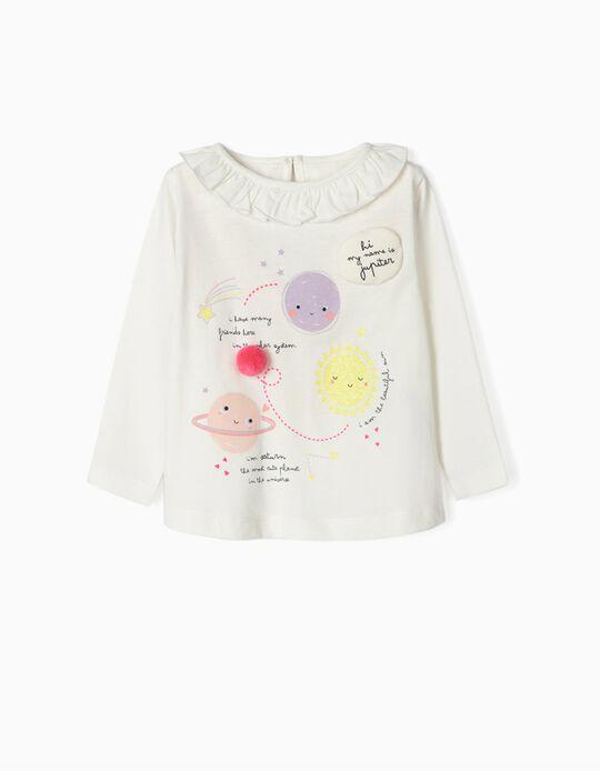 T-shirt Manga Comprida para Bebé Menina 'Space', Branco