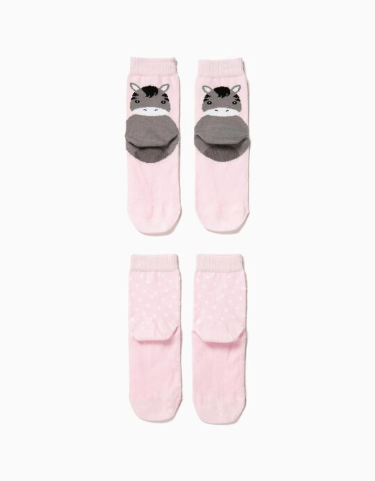 2 Meias Antiderrapantes para Bebé Menina 'Animals', Rosa