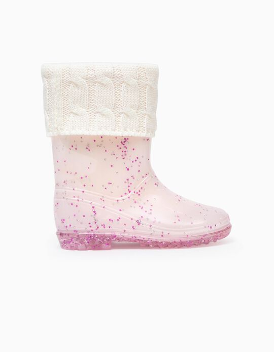 Wellies for Girls 'Stars', Pink/Transparent