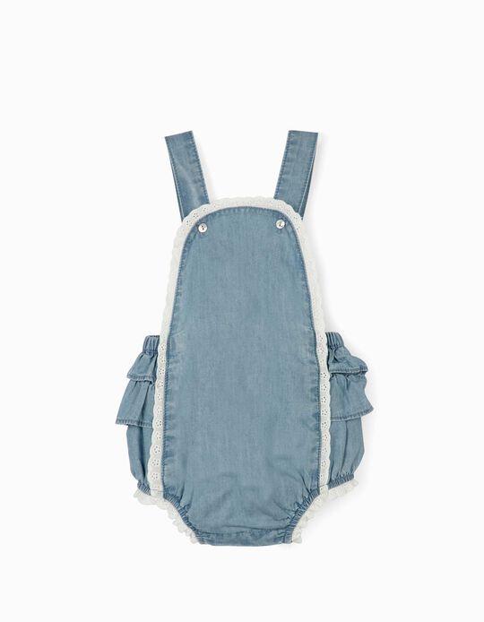 Denim Jumpsuit for Newborn Baby Girls, Blue