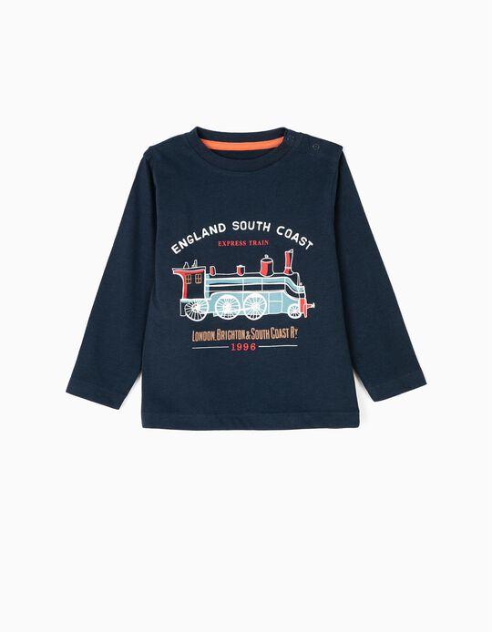 T-shirt Manga Comprida para Bebé Menino 'Vintage Train', Azul Escuro