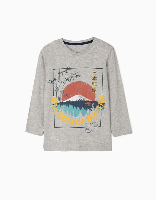 Long-sleeve Top for Boys 'Bhutan', Grey