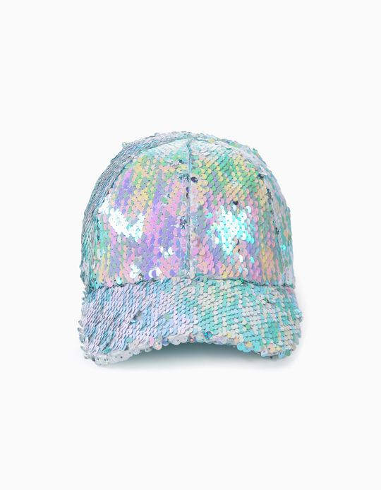 Cap with Sequins for Girls, Silvery