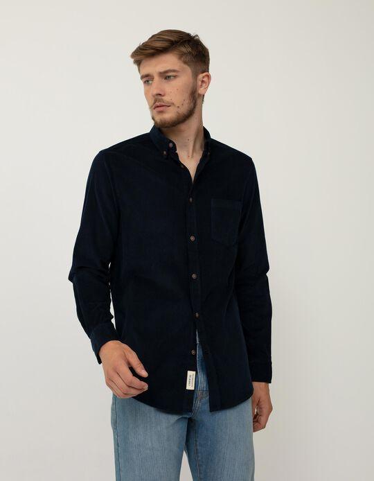 Camisa de Bombazine, Homem, Azul Escuro