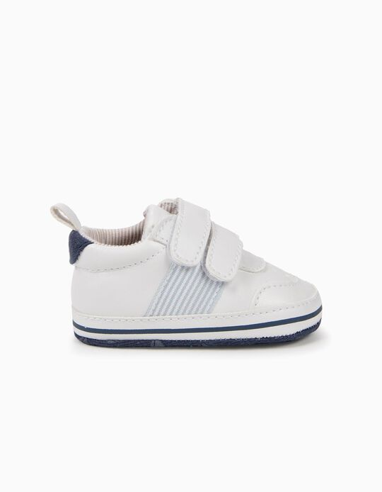 Sapatilhas para Recém-Nascido 'Riscas', Branco e Azul