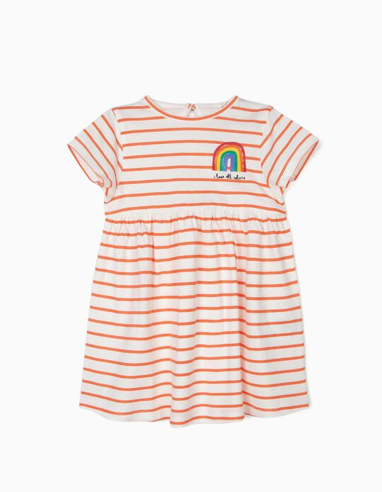 Dress for Baby Girls 'All Colors', White and Orange