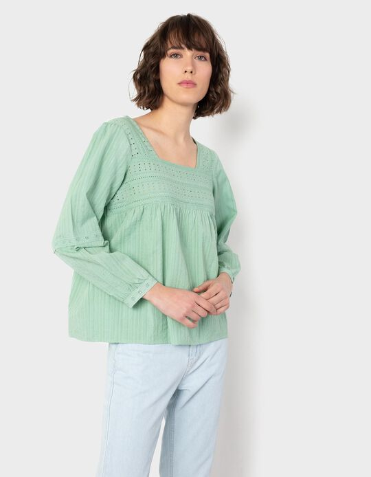 Blouse with Square Neckline