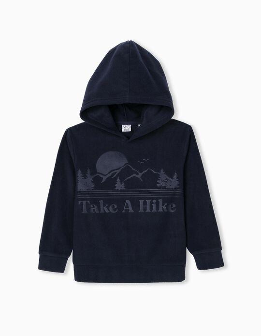 Sweatshirt Polar com Capuz, Criança, Azul Escuro