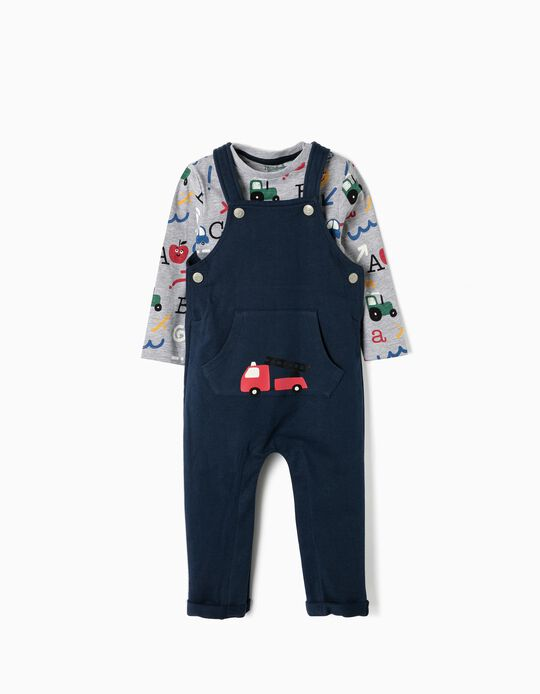 Macacão e T-shirt para Bebé Menino 'Alphabet', Azul e Cinza