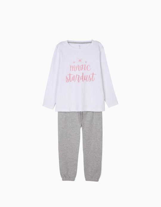 Pijama Manga Comprida e Calças Magic Stardust Branco e Cinza