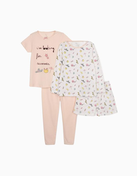 Pijama 4 Peças para Menina 'Summer', Rosa/Branco