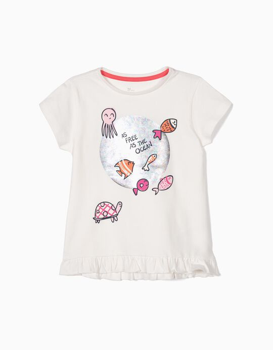 T-shirt para Menina 'As Free as the Ocean', Branco
