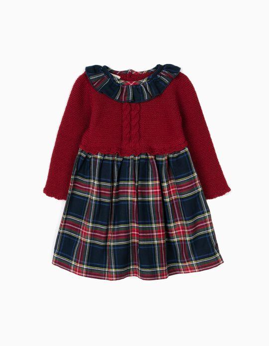 Vestido Combinado Recém-Nascida Xadrez Bordô B&S