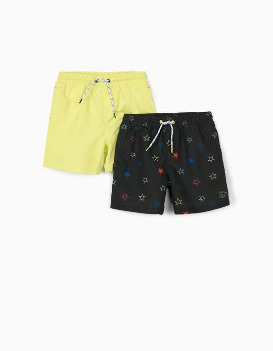 2 Swim Shorts for Boys, 'Stars', Grey/Fluorescent Yellow