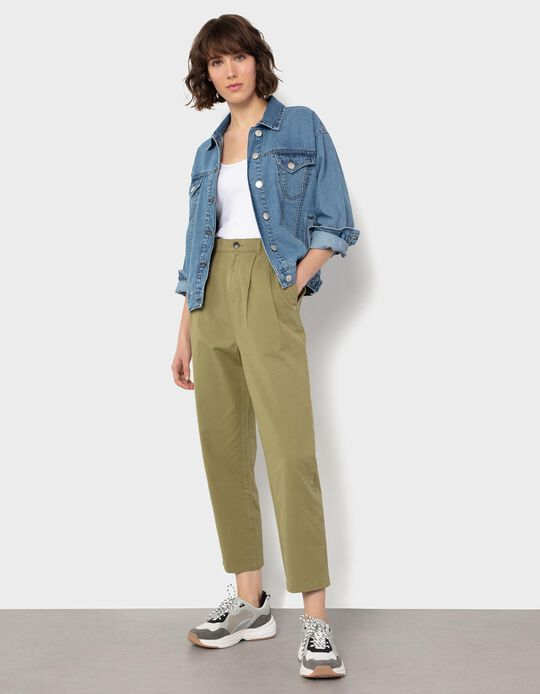 Twill Trousers with Darts, for Women