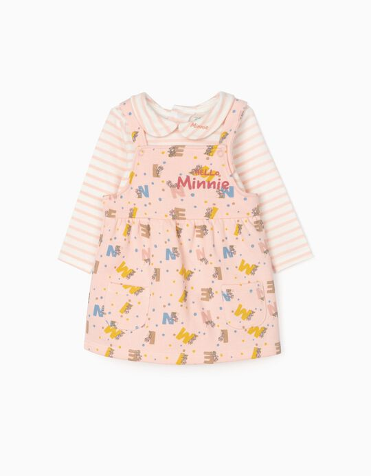 Bodysuit + Dungaree Dress for Newborn Baby Girls 'Minnie', Pink