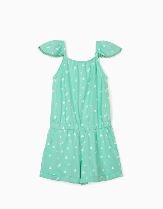 Jersey Knit Jumpsuit for Girls, 'Hearts & Cherries', Aqua Green