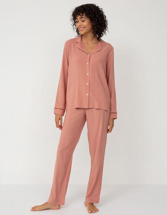 Linen Shirt Pyjamas, Women, Pink