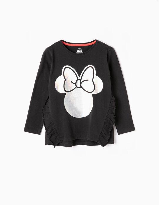 T-shirt Manga Comprida para Menina 'Minnie', Preto