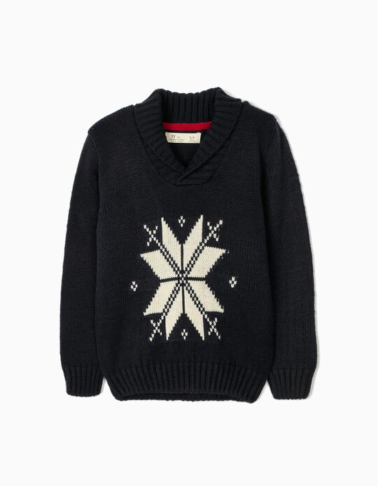Jumper with Jacquard for Boys, Dark Blue