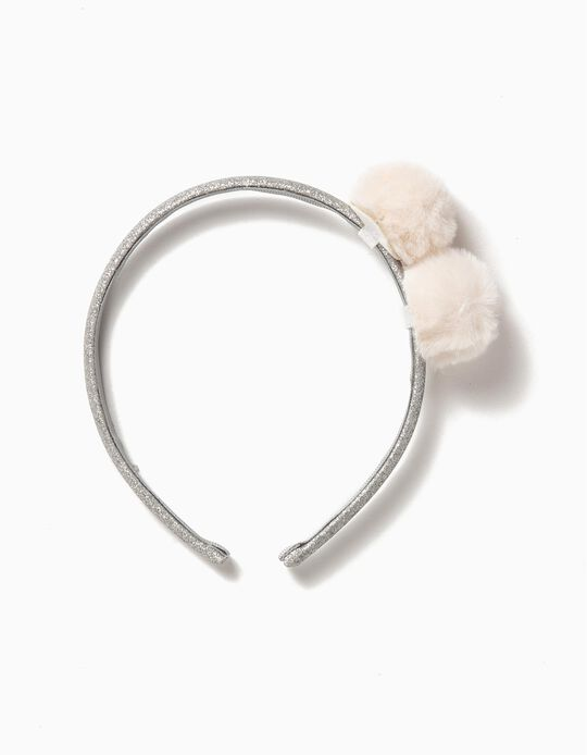 Shimmery Alice Band with Pompoms, Silver