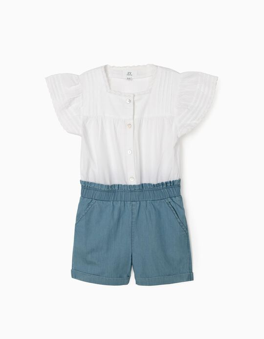 Dual Fabric Jumpsuit for Girls, White/Blue
