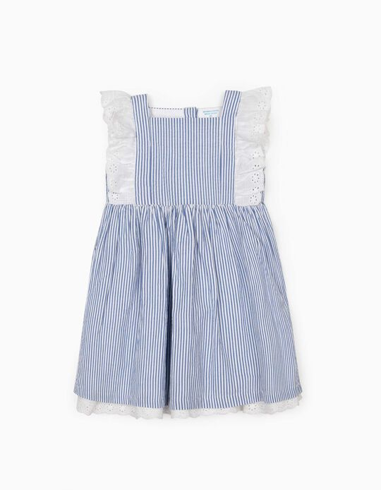 Striped Dress for Baby Girls, 'B&S', Blue/White