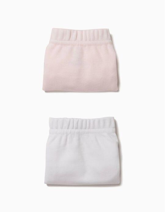 Pack 2 Cuecas Tapa-Fraldas Rosa e Branco