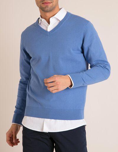 Camisola Decote V Azul