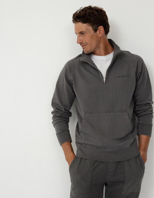 Sweatshirt com Fecho, Homem, Cinza