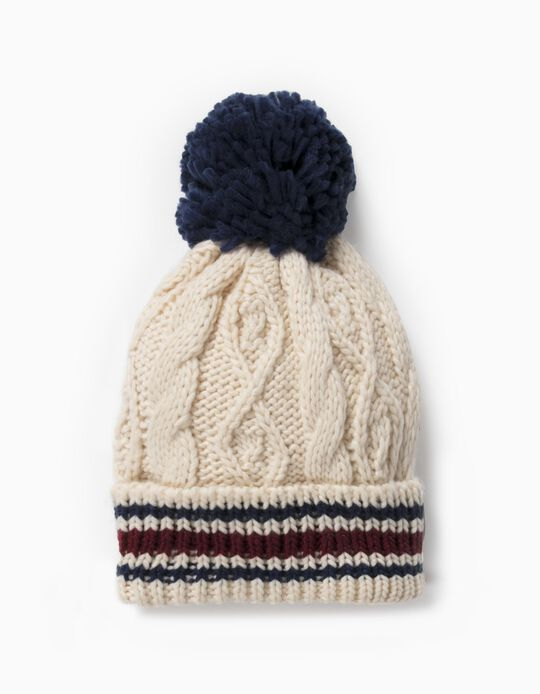 Knit Beanie with Pompom for Boys, Beige/Blue