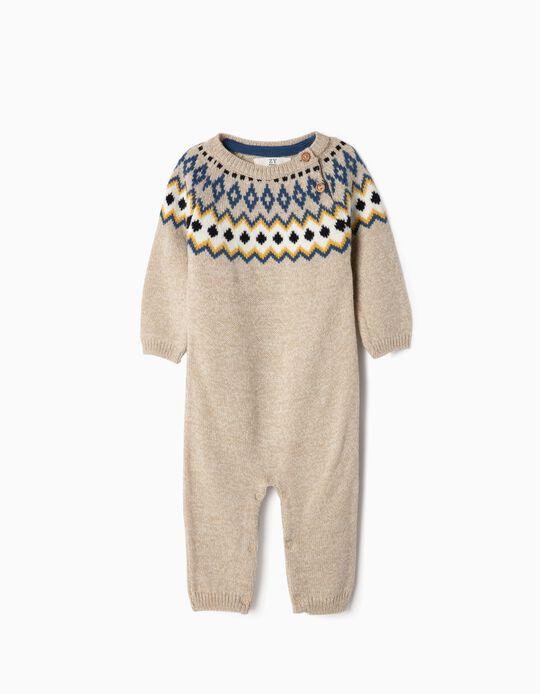 Knit Romper with Jacquard for Newborn Boys, Beige