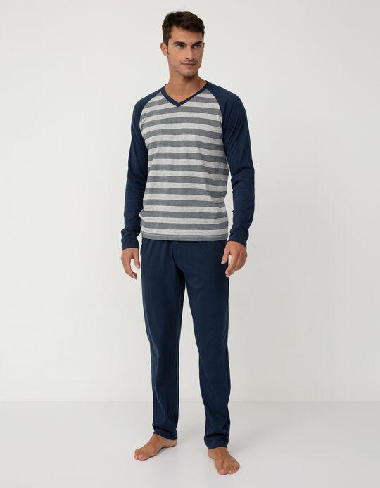 Pijama às Riscas, Homem, Azul Escuro