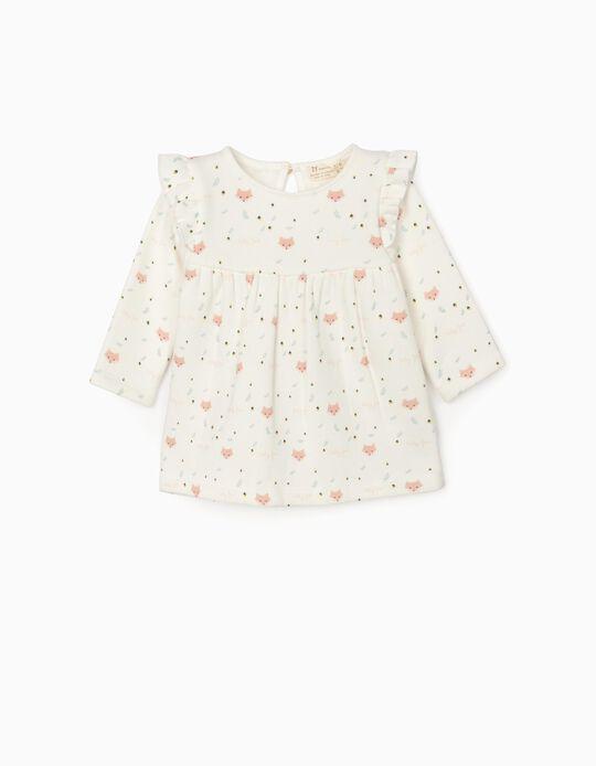 Dress for Newborn Baby Girls 'Baby Fox', White