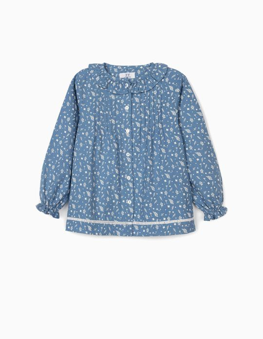 Floral Blouse for Girls, Blue/White