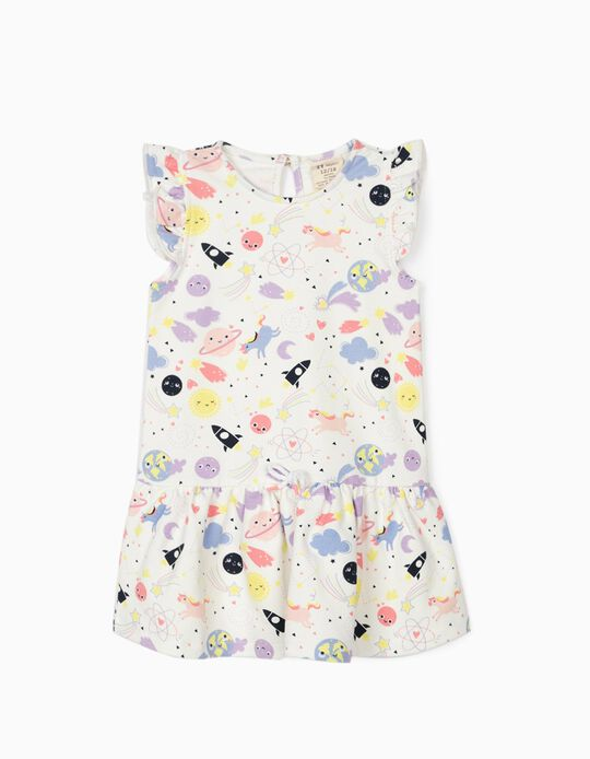 Dress for Baby Girls 'Solar System & Unicorns', White