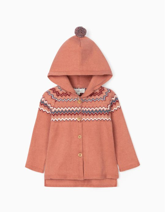 Jacquard Knit Hooded Cardigan for Baby Girls, Coral
