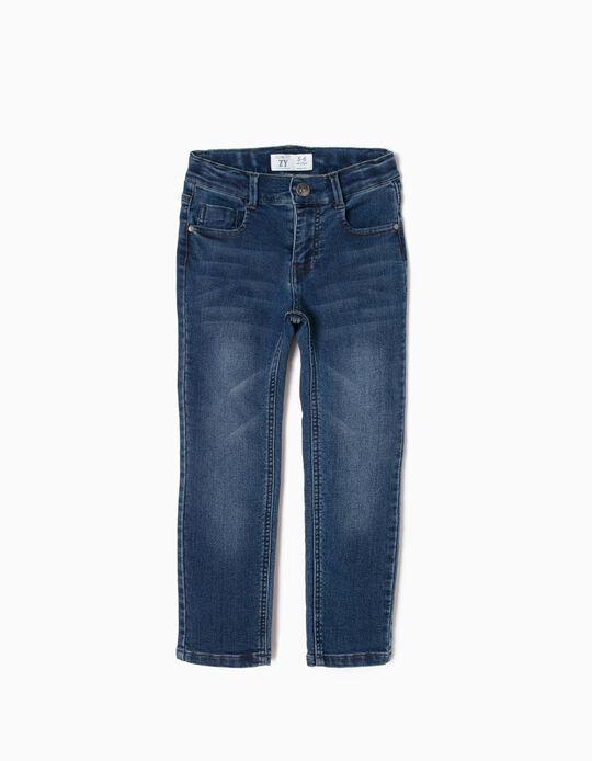 Calças de Ganga Slim Fit para Menino, Azul Escuro