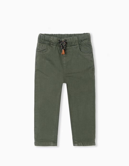 Lined Twill Trousers, Baby Boys, Green