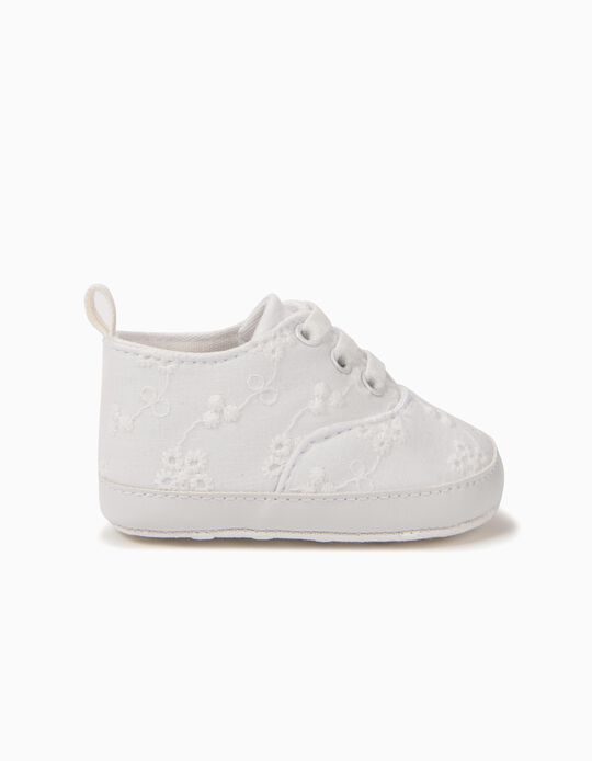 Trainers for Newborn Girls with Embroideries, White
