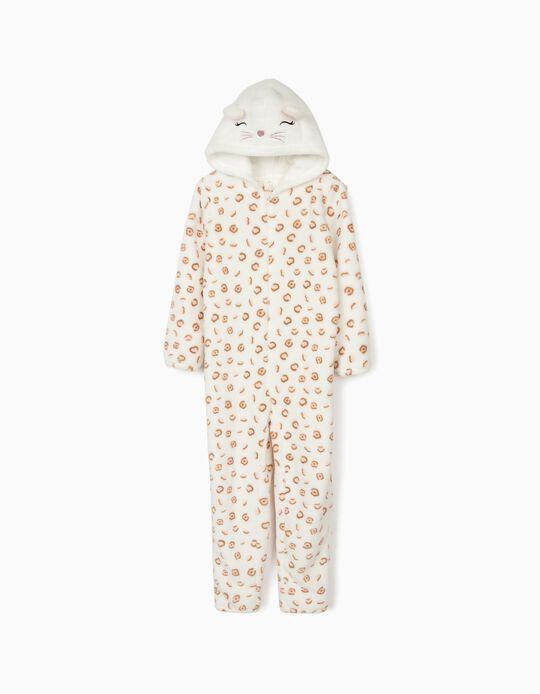 Pijama-Macacão para Menina 'Cute Leopard', Branco