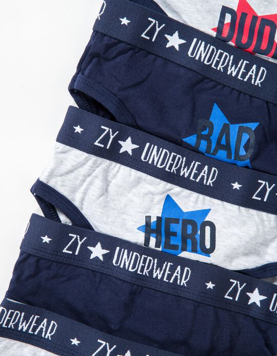 7-Pack Briefs for Boys, Grey and Dark Blue