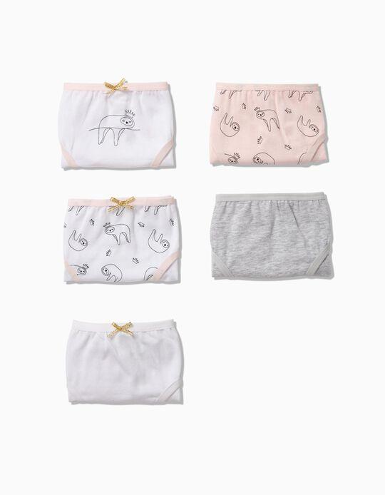 Pack 5 Cuecas para Menina 'Sloth', Rosa, Cinza e Branco