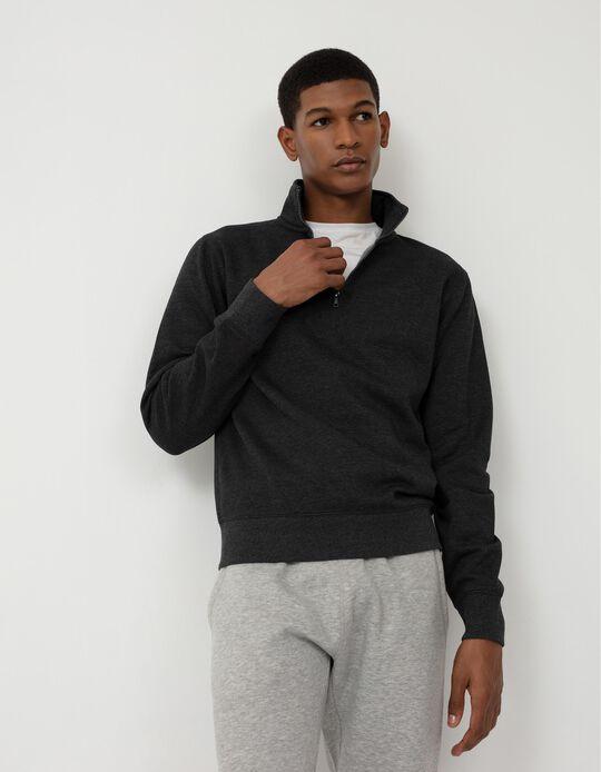 Sweatshirt with Zip on the Neck, Men, Dark Grey